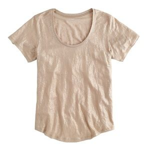 J Crew Scoopneck Linen Metallic Gold Tee Medium